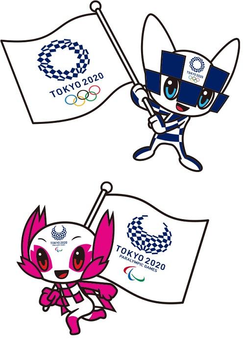Miraitowa, la mascotte dei Giochi Olimpici, e Someity, la mascotte dei Giochi Paralimpici