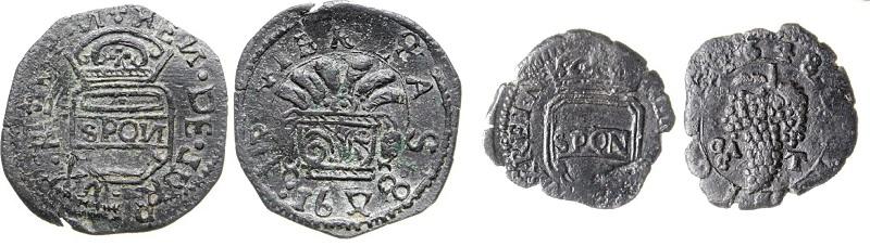 ESemplari da un tornese e da un grano in rame della Repubblica Reale Napoletana coniati nel 1648