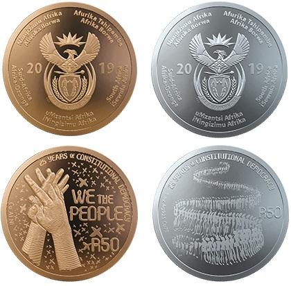 Le due once, in bronzo e in argento, emesse dal Sudafrica per i collezionisti