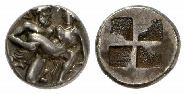 Thasos (Tracia) – Statere (463-411 a.C.) raffigurante un satiro e una ninfa in atteggiamento erotico (Ag mm 20 g 3,54)