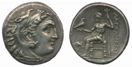Lampsacus (Macedonia) – Dracma a nome di Alessandro Magno (310-301 a.C.) raffigurante il sovrano sotto le sembianze di Eracle e Zeus in trono (Ag mm 20 g 4,19)
