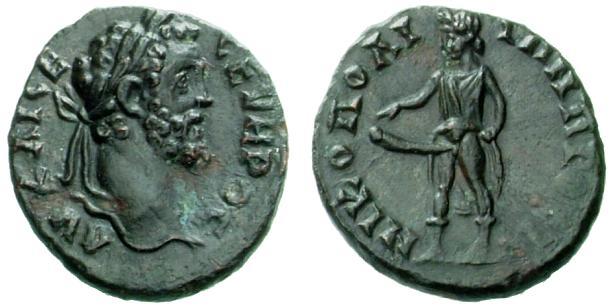 Nicopolis ad Istrum (Moesia) – Bronzo a nome di Settimio Severo (193-211 d.C.) raffigurante Priapo (mm 15 g 2,64)