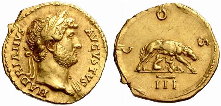 Roma – Aureo a nome di Adriano (117-138 d.C.) raffigurante la lupa che allatta Romolo e Remo (Au mm 21 g 7,36)