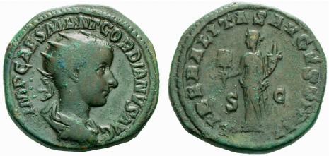 Roma - Due assi in bronzo a nome di Giulia Domna (193-217 d.C.) e di Gordiano III (238-244 d.C.) pesanti rispettivamente g 11,84 e 12,63 (mm 24 e mm 22)