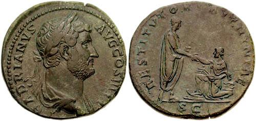Roma – Sesterzio a nome di Adriano (117-138 d.C.) celebrativo della conquista della Bitinia (Ae mm 33 g 25,60)