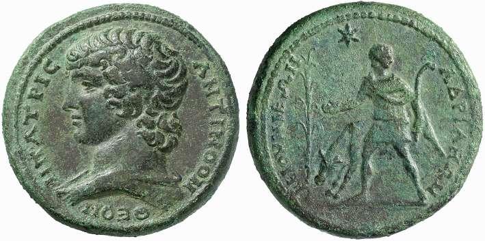 Claudiopoli (Bitinia) – Medaglione di Adriano in memoria di Antinoo (Ae mm 38 g 43,95)