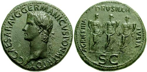 Roma – Sesterzio a nome di Caligola (37-41 d.C.) raffigurante le sue tre sorelle sotto le sembianze della Securitas, della Concordia e della Fortuna (Ae mm 36,25 g 28,10)