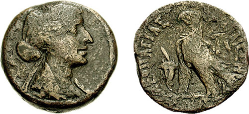Egitto – Diobolo a nome di Cleopatra VII (51-30 a.C.) con il ritratto della celebre regina (Ae mm 26,5 g 16,65)