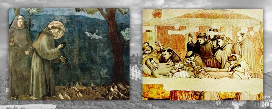 Due affreschi sulla vita di Francesco: la predica agli uccelli e il momento della sua morte, circondato dai confratelli