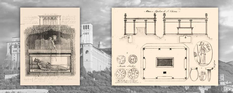 Due incisioni ottocentesche relative alla ricognizione del corpo di Franesco e agli oggetti rinvenuti nella sua tomba