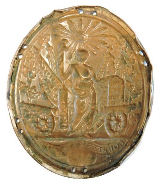 Il rovescio incuso, o controstampato, di questo distintivo militare francese a cavallo tra '700 e '800