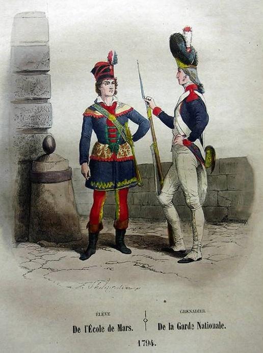Stampa risalente alla I Repubblica francese e raffigurante un allievo della Scuola militare di Parigi e un gendarme