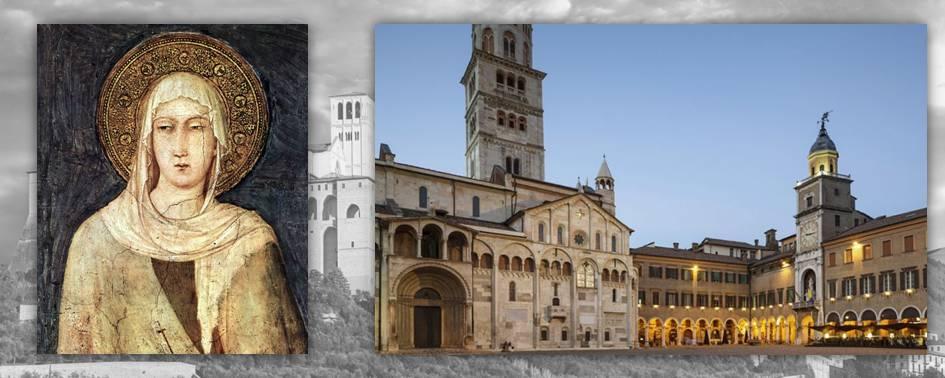 Giacoma dei Settesoli, discepola di Francesco, avrebbe deposto l'anello rinvenuto nella sua tomba; a destra la basilica di San Geminiano a Modena, altro sito in cui la tomba del santo patrono ha restituito reperti monetari di grande interesse