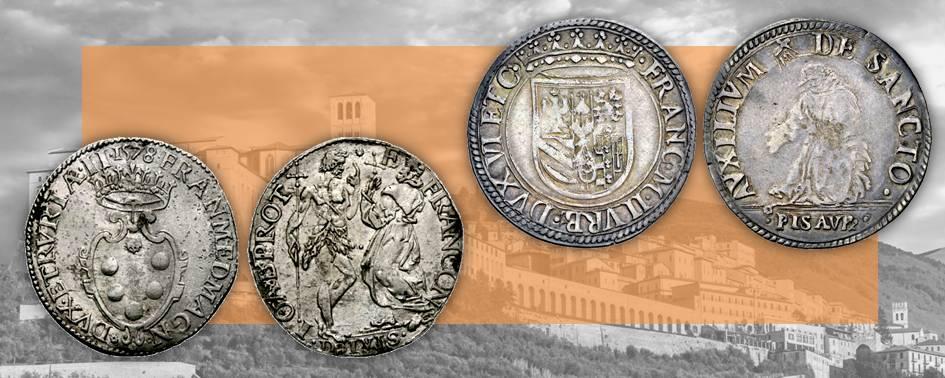 Dalla Firenze medicea alla zecca di Pesaro controllata dai Della Rovere, due esempi di rare monete in argento sulle quali la devozione francescana dei signori si trasforma in raccisurante iconografia numismatica