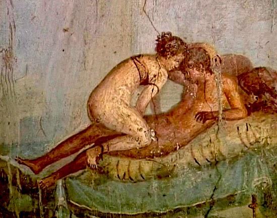 Famoso frammento di affresco a tema erotico da Pompei
