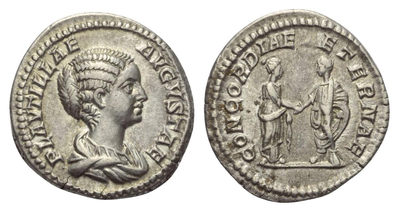 Roma – Denario a nome di Plautilla (202-205) raffigurante Caracalla e Plautilla che si tengono per mano sotto il beneaugurate motto di un'eterna concordia (Ag mm 19,3 g 3,14)
