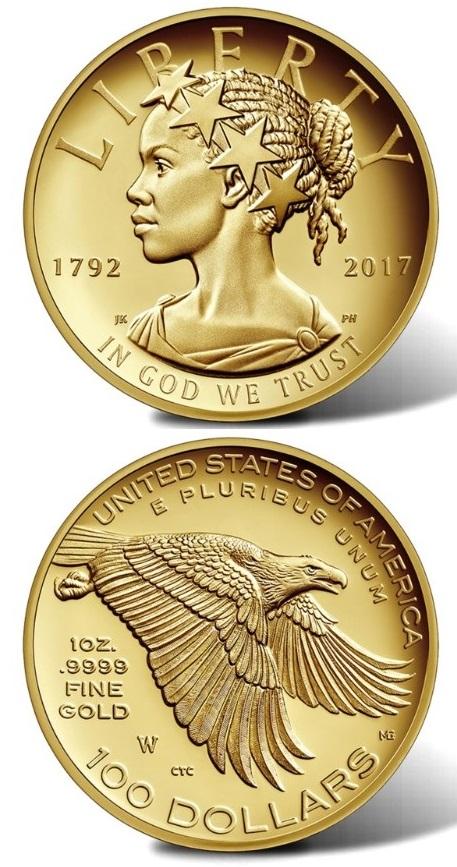 I 100 dollari, l'oncia in oro USA del 2017 con la Libertà dai tratti afro-americani