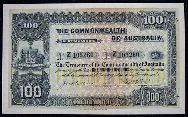 Il fronte della banconota da 100 pound d'Australia che ha spuntato oltre mezzo milione di dollari locali in asta a Sydney