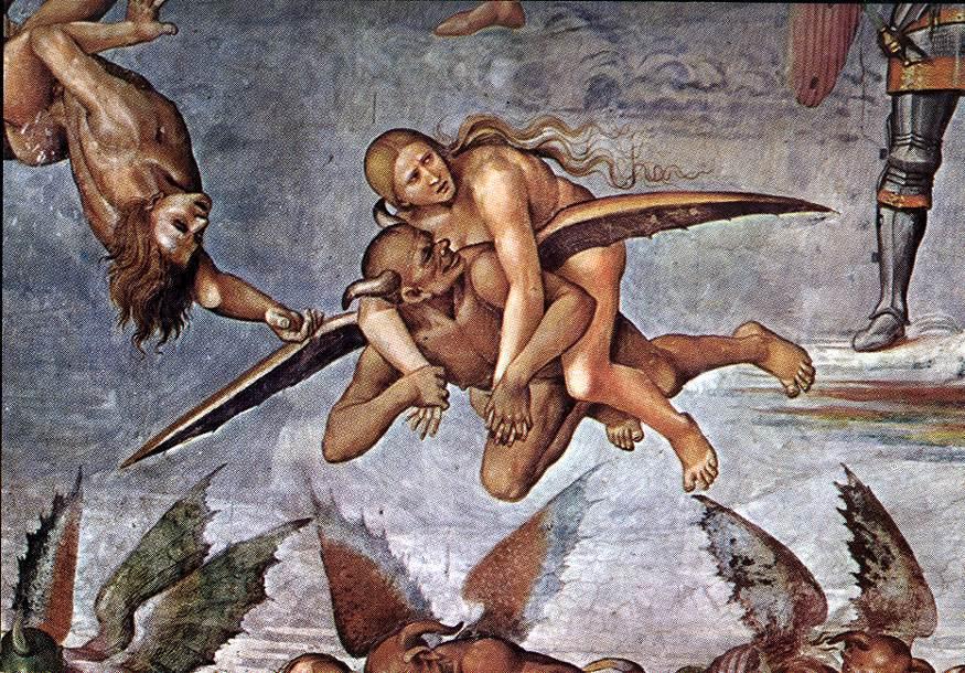 """Il demonio rapisce una meretrice (dall'affresco """"Il Giudizio Universale"""" di Luca Signorelli, Duomo di Orvieto, 1499-1504)"""