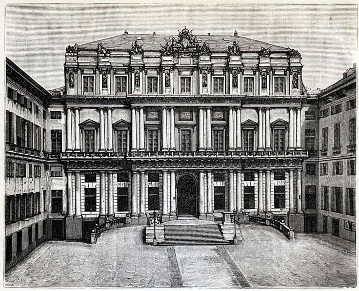 Il Palazzo Ducale di Genova in una bella incisione risalente al periodo tra XIX e XX secolo