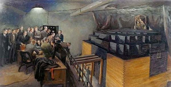 Dipinto che riproduce la prima pila atomica realizzata dal gruppo di Fermi a Chicago nel 1942