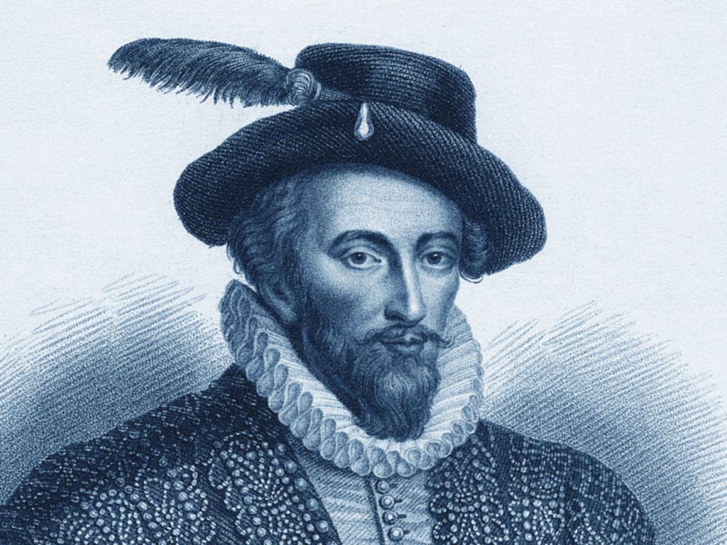 Un'incisione d'epoca ci restituisce i lineamenti del fascinoso sir Walter Raleigh, corsaro ed esploratore, protagonista dell'epoca d'oro elisabettiana