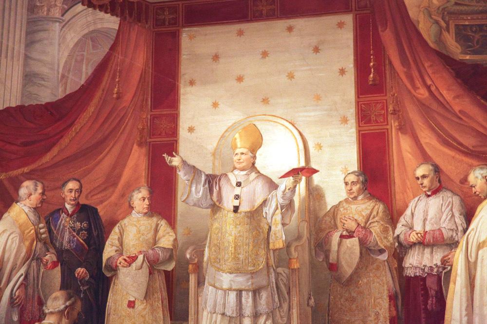 L'8 dicembre del 1854, in San Pietro, papa Pio IX proclama solennemente il dogma dell'Immacolata Concezione della Beata Vergine Maria