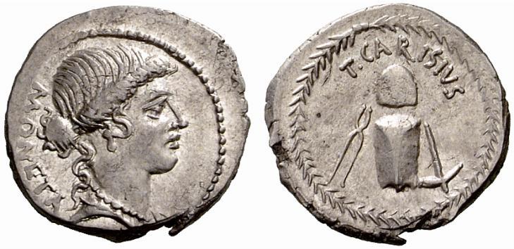 Denario romano del 46 a.C. con Giunone Moneta al dritto e gli strumenti per la monetazione al rovescio