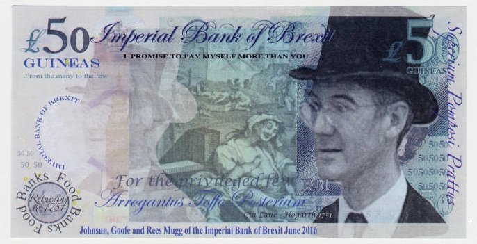 Bath for Europe - Brexit Banknote - Dritto con ritratto di Jacob Rees-Mogg