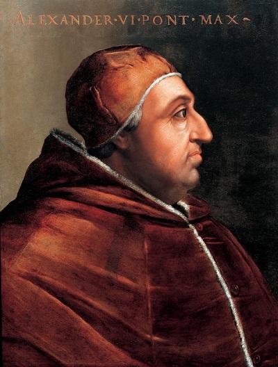 Papa Alessandro VI Borgia in un ritratto di Cristoforo dell'Altissimo (Galleria degli Uffizi di Firenze, XVI secolo)