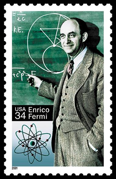Francobollo USA dedicato ad Enrico Fermi nel 2001 dagli USA, nel centenario della nascita