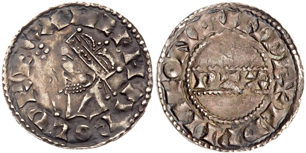 Un raro e bel penny del 1066 a nome di HArold II con l'iscrizione PAX sul rovescio e il ritratto coronato di profilo del re sul drito