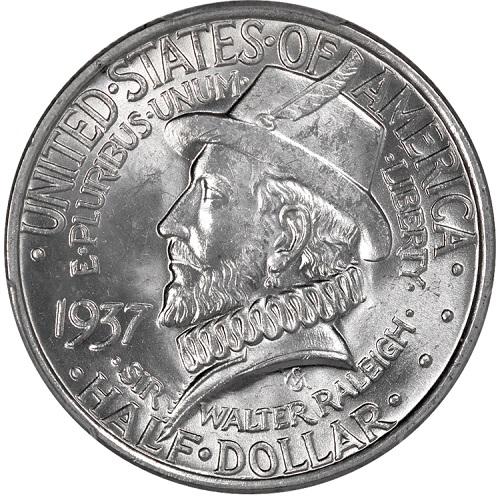 Il fiero ritratto di sir Walter Ralegh sul mezzo dollaro del 1937 per i 350 anni dalla fondazione della Virginia