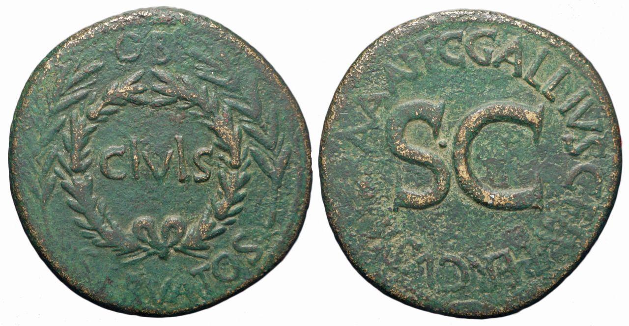 Ottaviano, sesterzio a nome del Magistrato Gallius Lupercus, coniato presso la zecca di Roma nel 16 a.C. (RIC I, 377), pochi anni dopo la riapertura dell'officina nella capitale su iniziativa imperiale