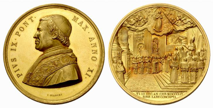 Uno dei rarissimi 39 esemplari in oro dell'annuale del 1856 celebrativa dell'Immacolata