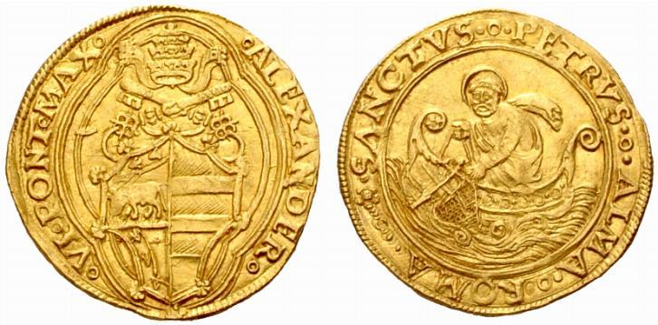 Doppio fiorino d'oro (mm 24,8 gr 6,76) a nome di Alessandro VI (1492-1503) (ex asta NAC 30 del 30-6-2005 lotto 553)