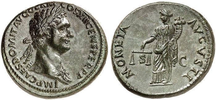 Domiziano, asse in bronzo coniato a Roma nell'86 d.C.: al rovescio la personificazione della Moneta Augusti caratterizzata da bilancia e cornucopia sul modello iconografico dell'Aequitas (RIC 493)