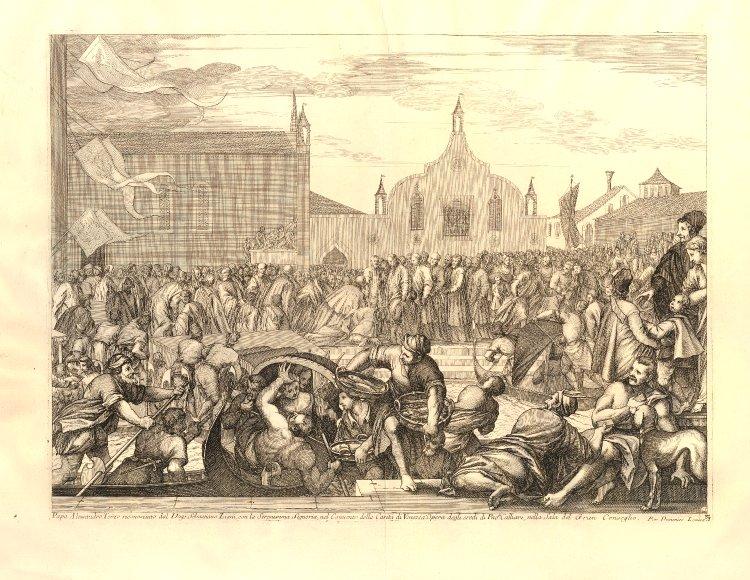 L'incontro tra il doge Ziani e papa Alessandro III a Venezia in una stampa di inizio XVIII secolo proveniente da un'opera sulla storia della Serenissima