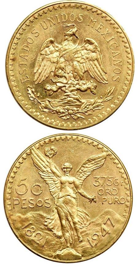 I 50 pesos in oro coniati in Messico per la prima volta nel 1921 contengono esattsamente 37,50 grammi di metallo prezioso