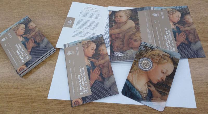 Dettagli del capolavoro di Filippo Lippi abbelliscono il blister in cui San Marino commercializza, dal prossimo 29 agosto, la 2 euro celebrativa per Filippo Lippi