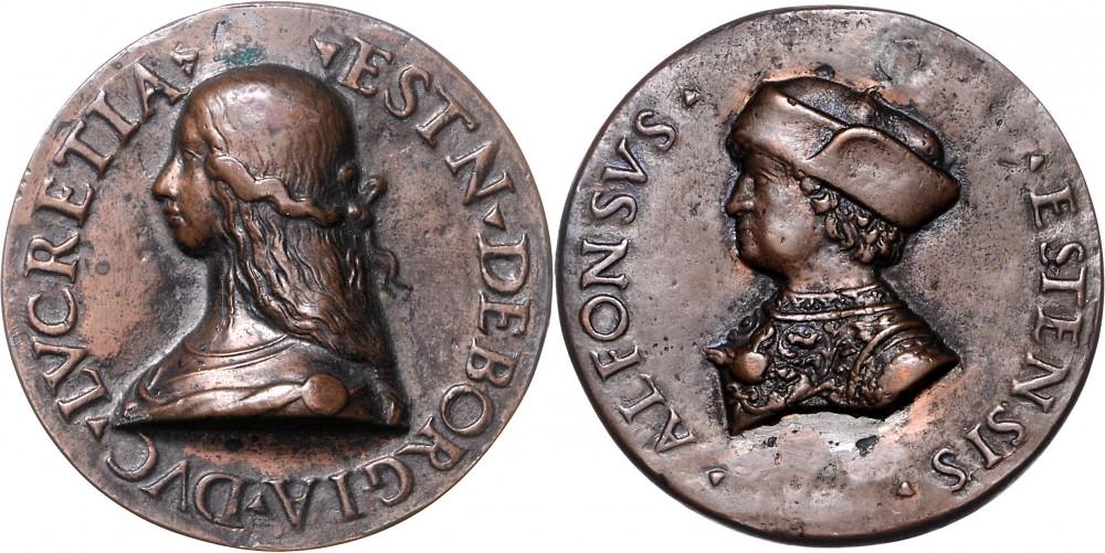 Medaglia anonima in bronzo (mm 55, g -) del 1502 con i ritratti di Lucrezia Borgia e Alfonso d'Este duca di Ferrara