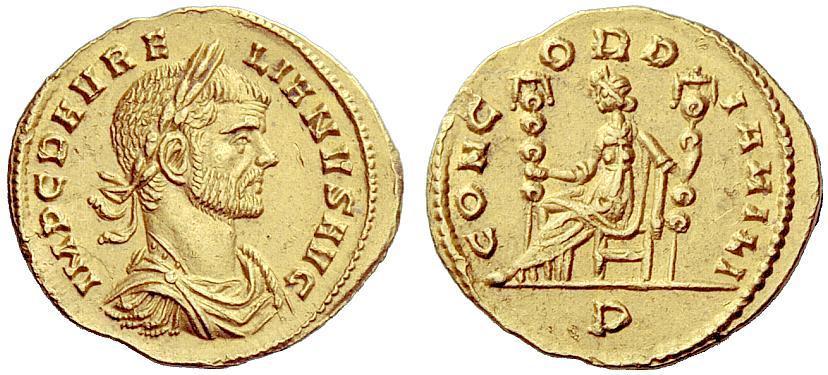 Aureliano, aureo coniato presso la zecca di Mediolanum nel 271 d.C. (RIC 87): al dritto il ritratto dell'imperatore in armatura e al rovescio la personificazione della Concordia seduta fra due insegne militari