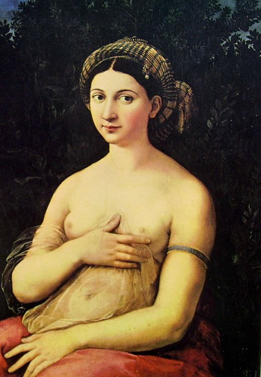 """""""La Fornarina"""", dipinto di Raffaello Sanzio del 1518-1520 (Galleria Nazionale d'Arte antica, Palazzo Barberini, Roma)"""