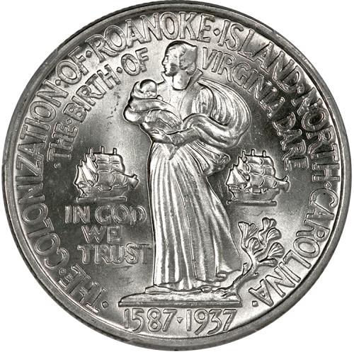 La piccola Virgina Dare, prima nata da genitori inglesi nella nuova colonia in braccio alla madre Eleanor; il germoglio di quercia simboleggia il popolo nascente