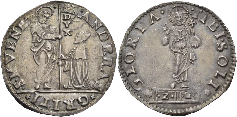 Lira o mocenigo in argento (mm 33,2 g 6,45) a nome del Doge Andrea Gritti (1523-1538) (ex asta Künker 105 del 27-9-2005 lotto 2383)