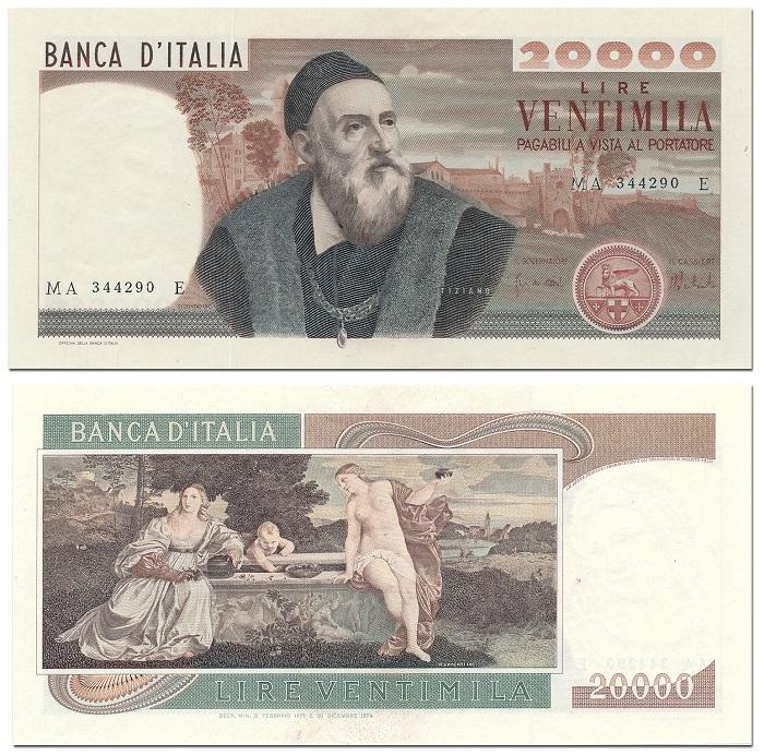 """""""Amor sacro e amor profano"""" al verso delle 20.000 lire Tiziano rendono bene l'idea di un Rinascimento veneziano in bilico fra religiosità e lussuria"""