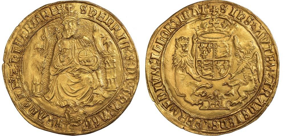 Sovrana in oro di Enrico VIII d'Inghilterra (oro, mm -, g 12,42) coniata con ritratto barbuto a figura intera del re al dritto dalla zecca di Southwark nel 1544-1547
