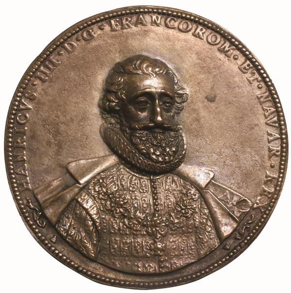 Busto di Enrico IV di Borbone (1589-1610) da una medaglia uniface in bronzo (mm 102, g 275)