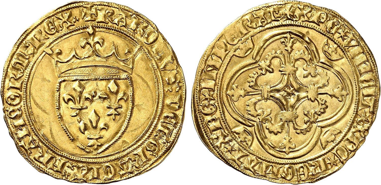 Rarissimo scudo d'oro francese per Carlo VII al tipo di Tournai del 1423 (mm - , g 3,82)