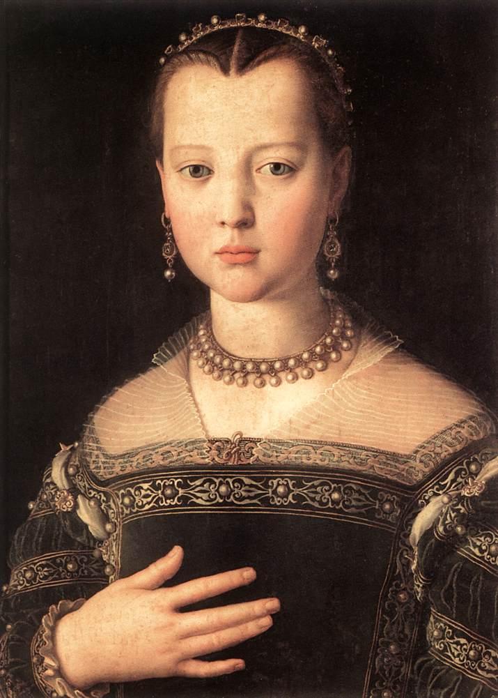 Una giovanssima e affascinante Maria de' Medici ritratta da Agnolo Bronzino nel 1551 (Galeria degli Uffizi, Firenze)